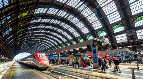 Train station in Milan Italy