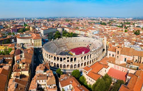 Aerial view of Verona, Italy, with famous Arena