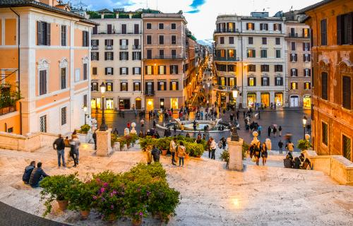 People at the Spanish Steps in the evening in Rome