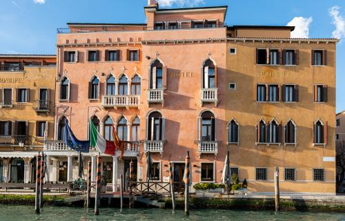 Hotel along the canal in Venice Italy