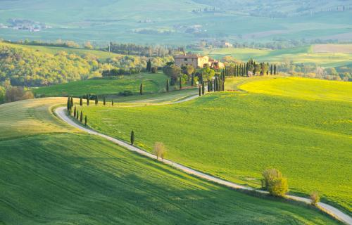 Typical spring landscape of Val d'Orcia in Tuscany