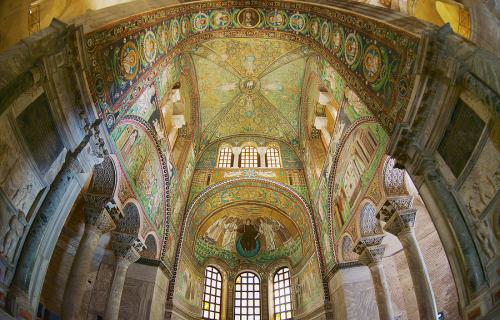 Rich decorated walls and ceiling of the Basilica di San Vitale in Ravenna, Italy