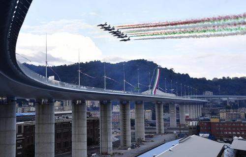 The Genoa San Giorgio Bridge during inauguration with Italian Air Force fly by