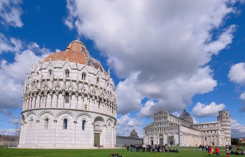 Piazza del Duomo in Pisa with the Baptistery, the Cathedral and Leaning Tower