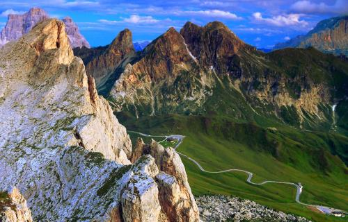 View of mountains and of the Great Dolomites Road