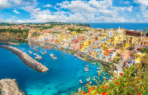 Aerial view of Procida Italy