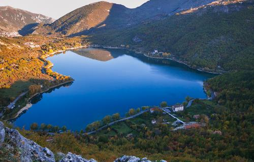 Heart-shaped Scanno Lake in Scanno Abruzzo