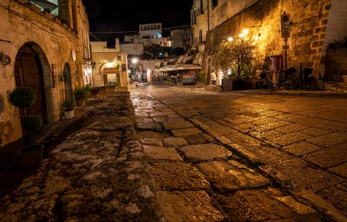 Street of Matera at night