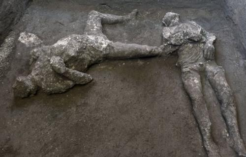 Casts of two victims from Vesuvius eruption found at Pompeii