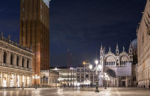 Venice's St. Mark's Square empty at night