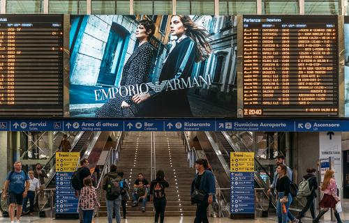 Timetable boards at Rome's Termini train station