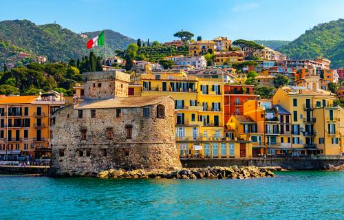 The castle in Rapallo and colorful houses on the Italian Riviera