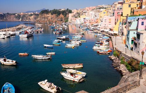 The harbor in Procida Italy