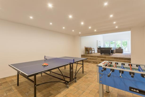 Games room with ping pong table, table football and pool table