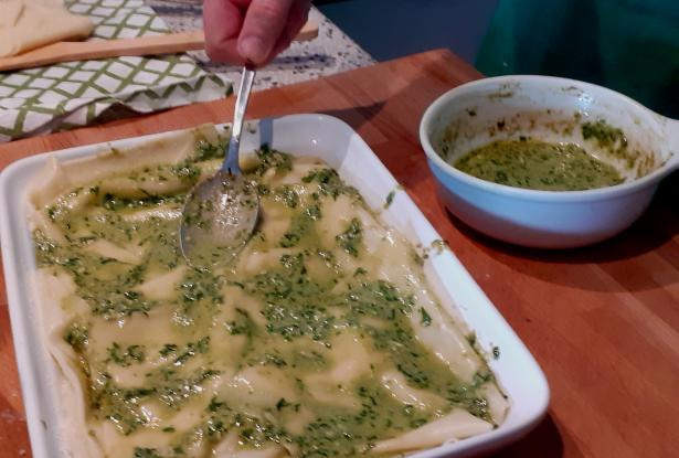 Preparing Lasagne with Pesto