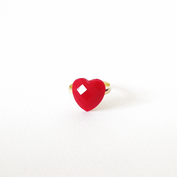 Tiny red HEART ring 1