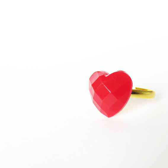 Tiny red HEART ring 2