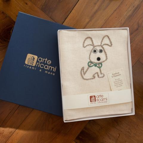 Tea towel gift box _ Handmade dish cloth _ Mum gift _ Kitchen linens _ Kitchen decor _ Handembroidered dog