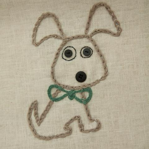 Hand embroidered hemp_ Organic tea towel _ Organic hemp _ Hand made in Italy _Dishclotth with dog
