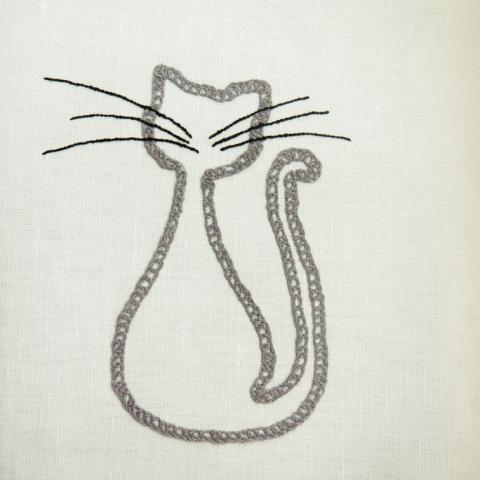Hand embroidered cat on organic cotton tea towel _ Handcrafted dish towel _ cotton dish towel