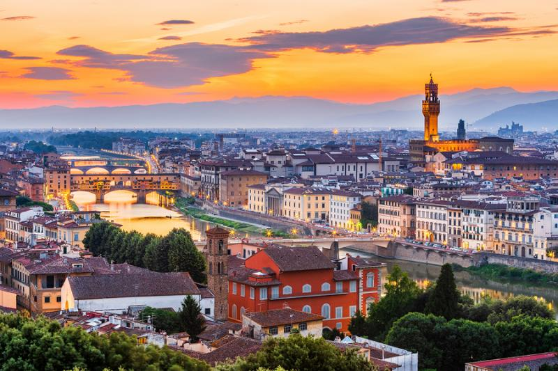 View of Florence at dusk