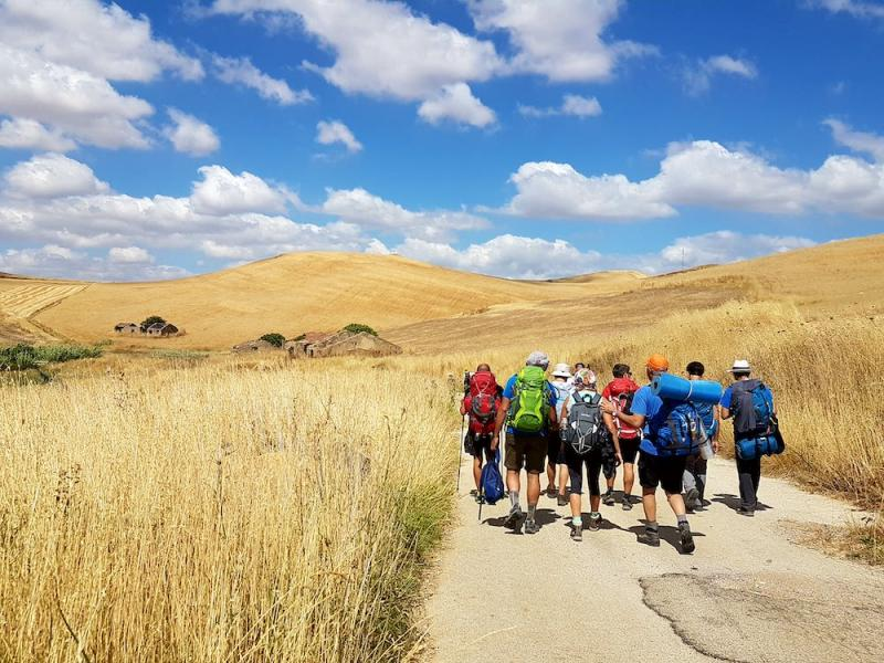 Walkers on the Magna Via Francigena route in Sicily