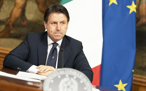 Italy's prime minister Giuseppe Conte speaking at press conference