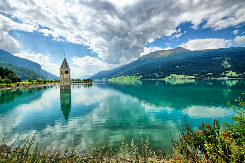 Submerged bell tower at Lake Resia in Val Venosta Italy