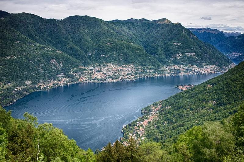 View of Lake Como from the village of Brunate