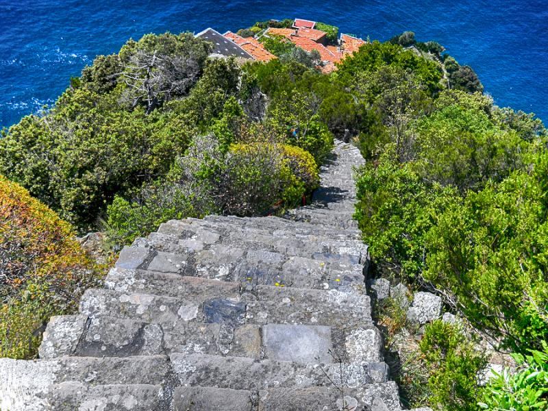 Staircase leading down to village of Monesteroli in Liguria