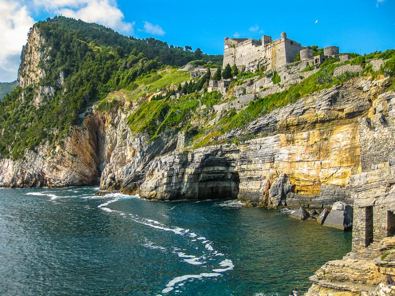 Byron's Grotto and the Castle of Portovenere, Liguria