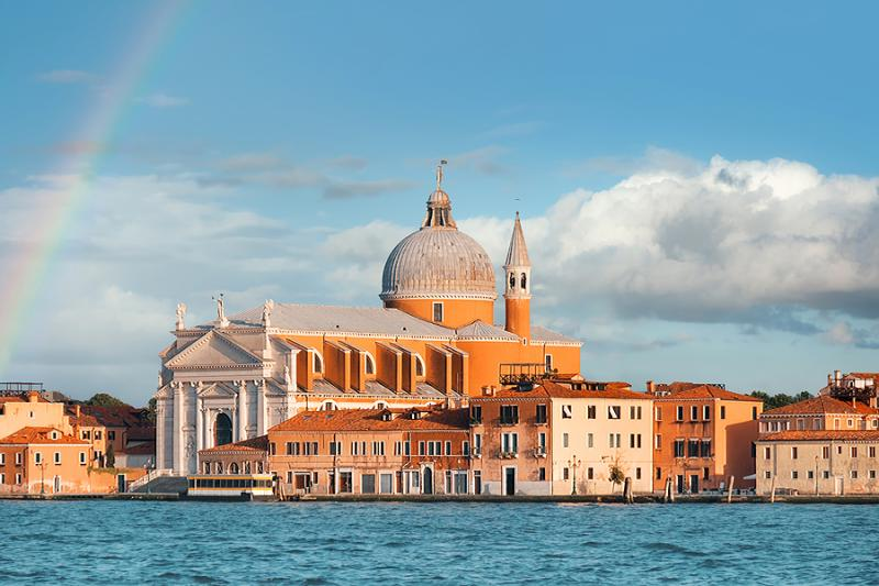 Rainbow over Venice with Redentore Church in the background