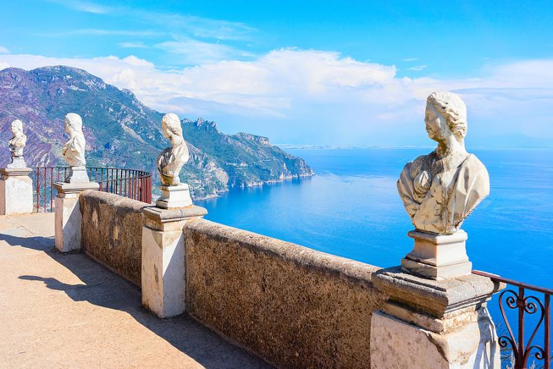 Beautiful seaview from terrace of the infinite at Villa Cimbrone on the Amalfi Coast