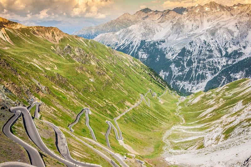 Hairpin bends of the Stelvio Pass road in Italy
