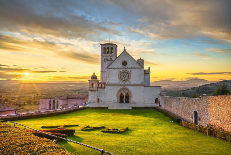 San Francesco or Saint Francis Basilica upper church at sunset
