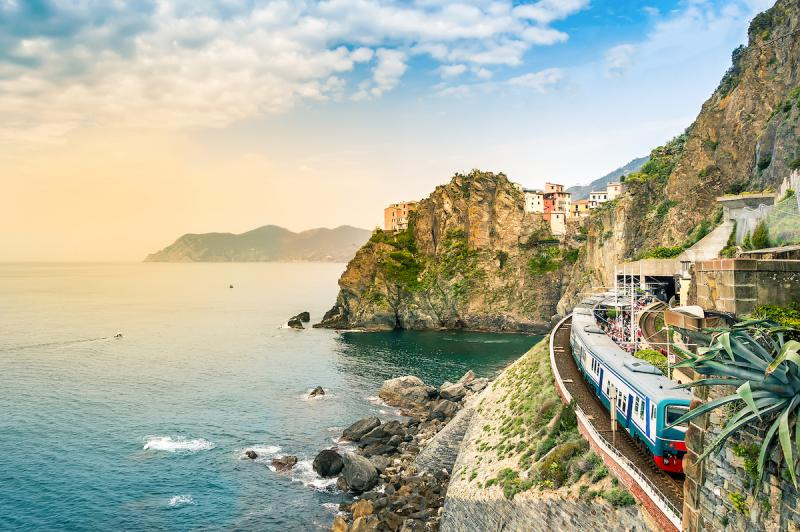 Italian train in Manarola Cinque Terre
