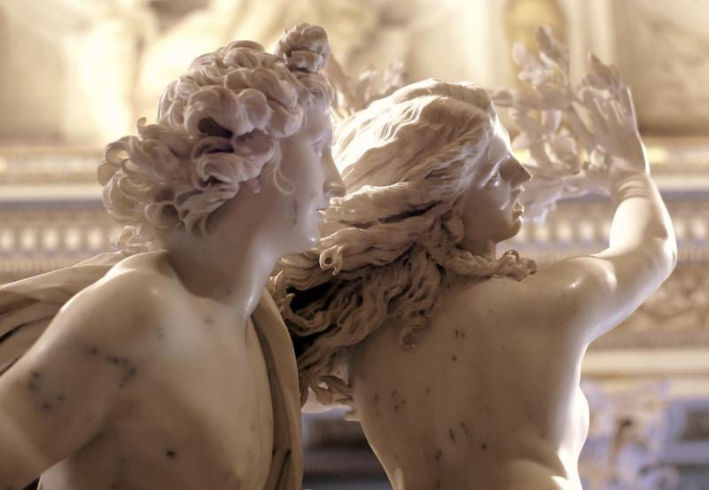 Detail of Apollo and Daphne sculpture by Bernini at Galleria Borghese in Rome