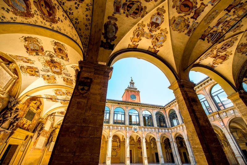 The courtyard of the Archiginnasio, the first official seat of the University of Bologna, built in 1563