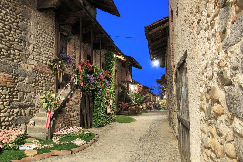 charming street with stone houses in Candelo Piedmont Italy