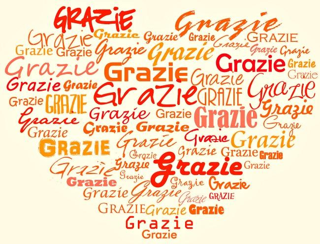 "Heart with words ""grazie"""