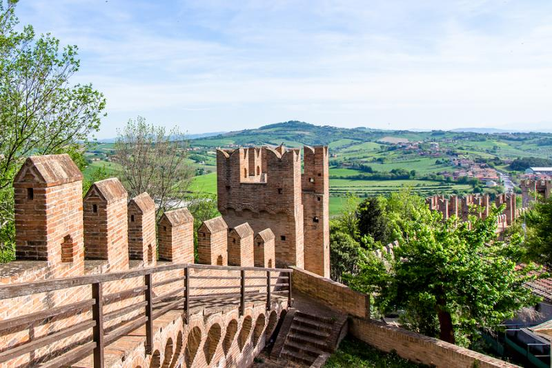 View of Marche countryside from Gradara Castle
