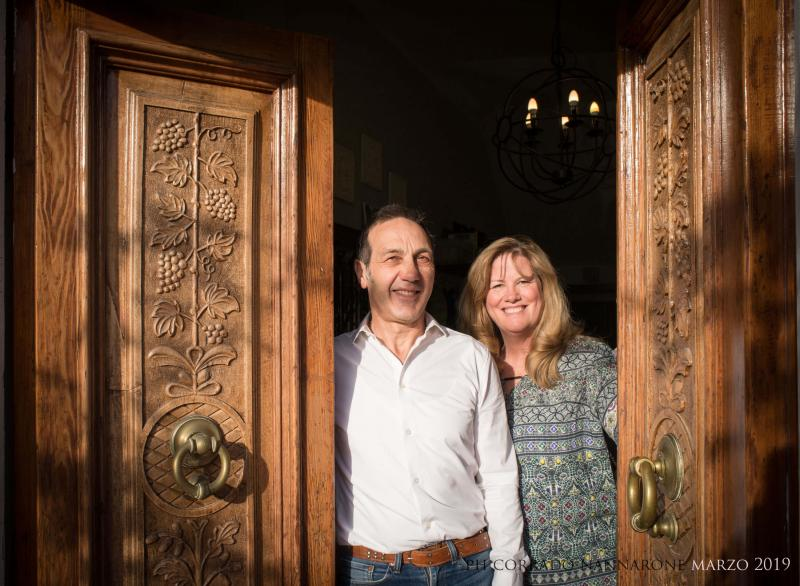 Margaret Gigliotti and Domenico Pizzoferrato in their B&B in Abruzzo