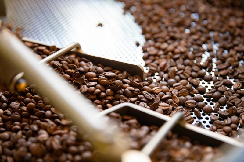 Coffee beans in roasting machine