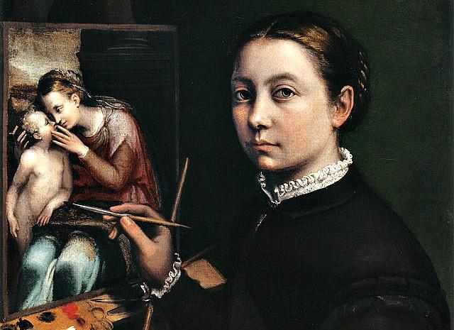 """Self-portrait at the Easel Painting a Devotional Panel by Sofonisba Anguissola"" by Sofonisba Anguissola"