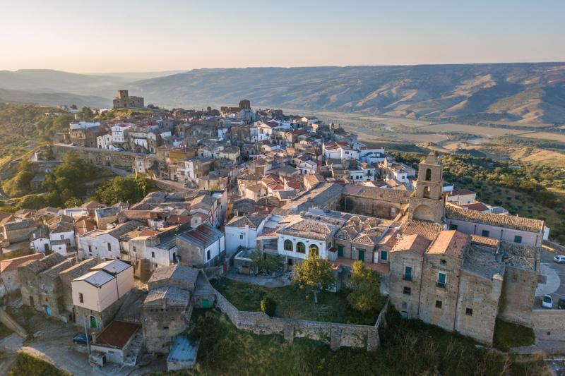View of the village of Grottole in Basilicata Southern Italy