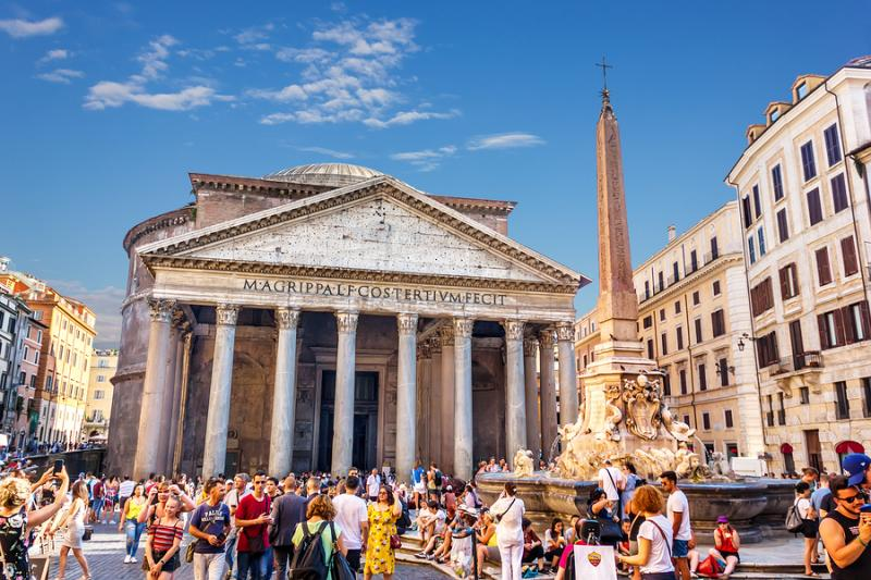 Pantheon square with many tourists in Rome