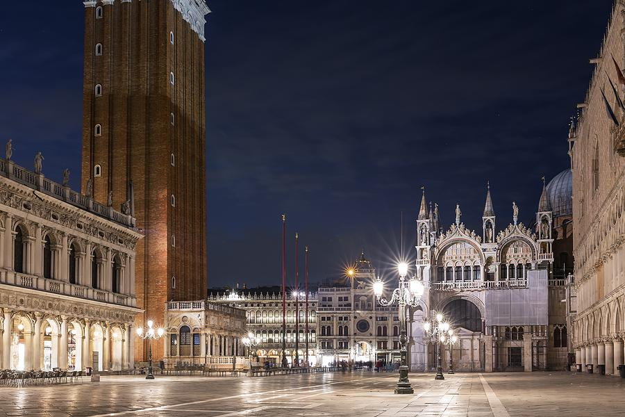 St. Mark's Square in Venice empty at night